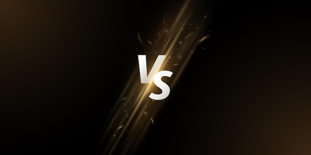 Versus screen. vs letters with fire flame and spark effect on a dark background for sport games, match, tournament, cybersport, martial arts, fight battles. game concept. vector illustration
