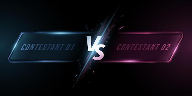 프레임이 있는 화면과 비교합니다. 스포츠 게임, 토너먼트, 사이버 스포츠, 무술, 전투 전투를 위한 반짝이는 플래시가 있는 문자 vs. 게임 개념입니다. 벡터 일러스트 레이 션