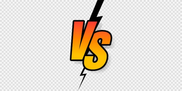 Versus sign gradient style with crack isolated on transparent