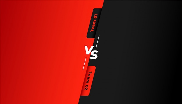 Versus vs background for red and black team