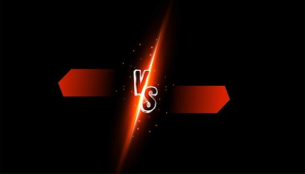 Versus vs confronto banner con striature chiare