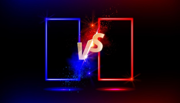 Versus vs gold sign with blue and red empty frames or borders and glow sparks on black