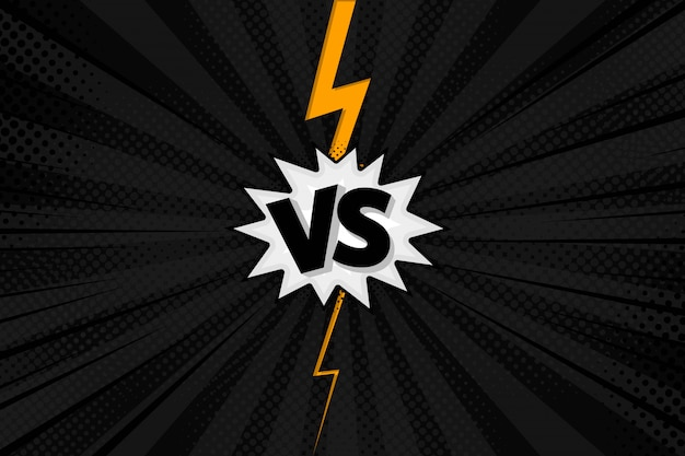 Versus vs letters fight backgrounds in flat comics style design with halftone