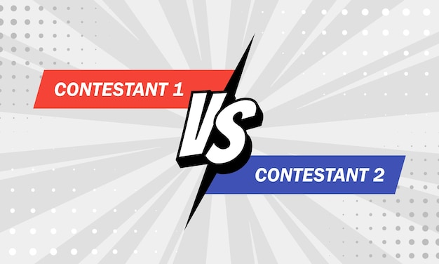 対vsの文字は、ハーフトーン、稲妻を備えたフラットコミックスタイルのデザインで背景と戦います。ベクター