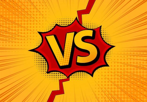 対vs文字は、フラットコミックスタイルのデザインの背景と、ハーフトーン、稲妻で戦っています。