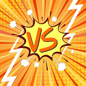 Versus vs letters fight in flat comics style design with halftone, lightning. vector illustration