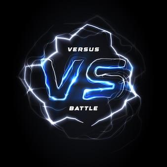 Против против круглого синего логотипа битвы шаблон заголовка сверкающей молнии дизайн изолированных вектор