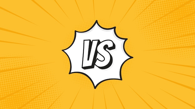 Versus vs sign isolated on fight backgrounds in flat comics style design with halftone, lightning for battle, sport, competition, contest, match game.