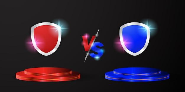 青と赤のチームが空の3dシリンダーの表彰台または台座とシールドエンブレムフラグのロゴが付いたvsサインとの比較。スポーツ、eスポーツ、ゲーム、武道の戦闘、競争または挑戦との戦い。