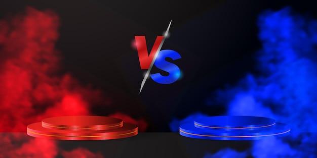 青と赤のチームが空の3dシリンダーの表彰台または台座を備えたvsサインとは対照的に、黒の背景に煙が出ます。スポーツ、eスポーツ、ゲーム、武道の戦闘、競争または挑戦との戦い。