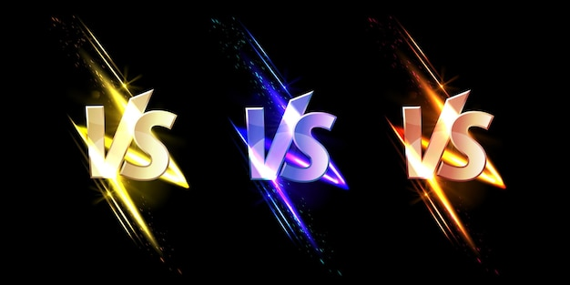 Versus vs signs with glow and sparks game or sport confrontation symbols on black with glowing sparkles martial arts combat fight battle competition challenge realistic set