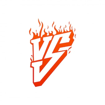 Versus with fire frames and vs letters. flaming vs for duel and confrontation