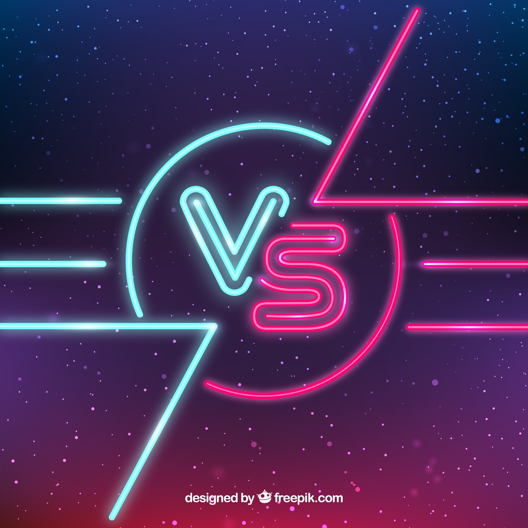 Versus with neon lights and space style