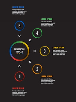 Vertical 5 steps infographic template with round paper cut elements on black