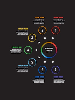 Вертикальные 7 шагов инфографики шаблон с круглыми элементами бумаги вырезать на черном. схема бизнес-процесса.