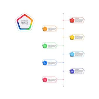 五角形と白い背景の上の多角形の要素を持つ垂直8ステップタイムラインインフォグラフィックテンプレート。細い線のマーケティングアイコンによる現代のビジネスプロセスの可視化。図