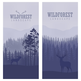 Vertical abstract banners of wild deer in forest with trunks of trees