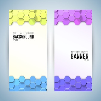 Vertical abstract banners with colorful hexagons