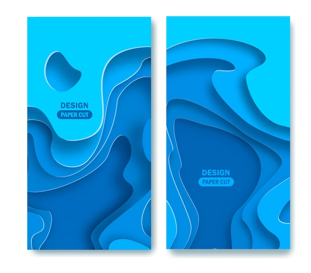 Vertical abstract blue background with paper cut shapes