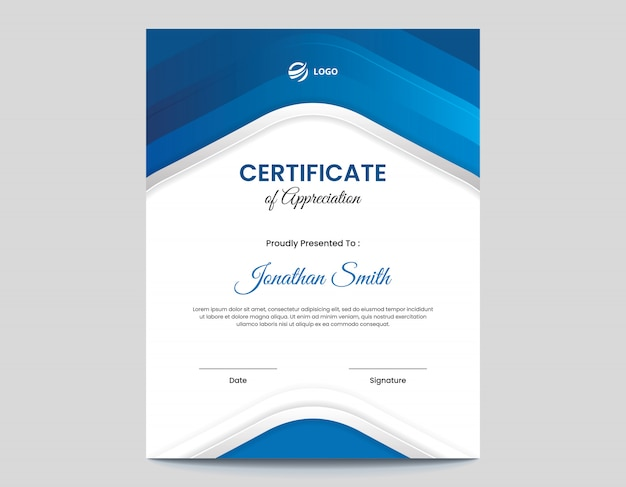 Шаблон оформления сертификата вертикальной абстрактной синей формы