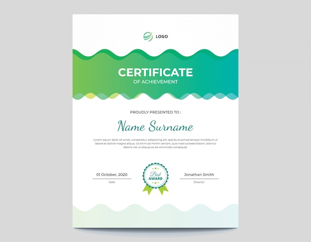 Vertical abstract colored green and blue waves certificate template