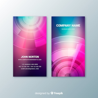 Vertical abstract colorful gradient business card