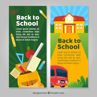 Vertical back to school banners in flat style