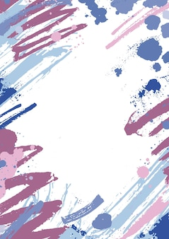 Vertical background with colorful paint stains, blots and brush strokes on white