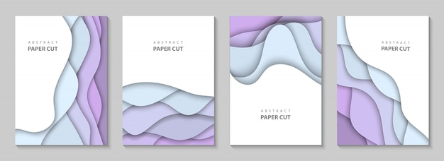 Vertical background with colorful paper cut waves