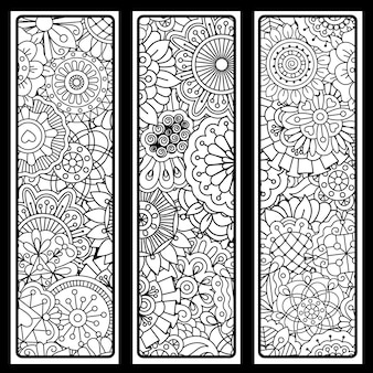 Vertical backgrounds set with doodle style