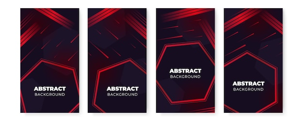 Vertical banner background template set with different shapes.