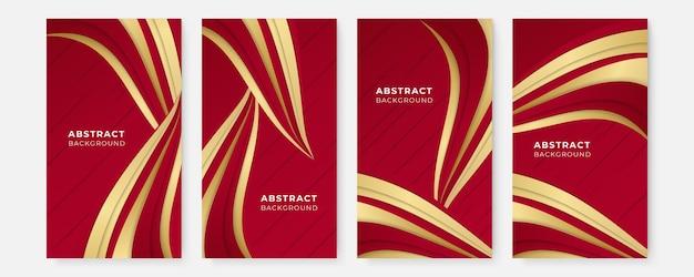 Набор шаблонов фона вертикального баннера с различными формами.