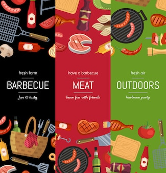 Vertical banner poster templates for barbecue or grill cooking