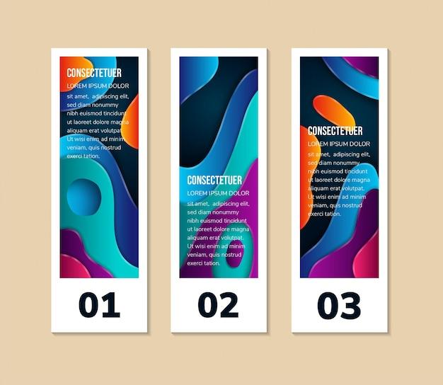 최소한의 배너 브로셔 전단지에 대한 수직 배너 스탠드 템플릿 디자인 유체 그라데이션 기하학적
