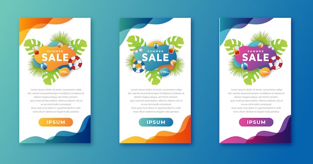 Vertical banner summer sale background template beach element