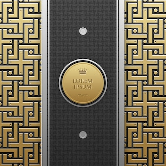 Vertical banner template on golden metallic background with seamless geometric pattern. elegant luxury style.