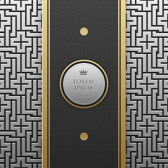 Vertical banner template on silver/platinum metallic background with seamless geometric pattern
