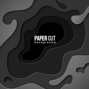 종이 잘라 모양 3d 추상 검은 회색 배경으로 수직 배너. 비즈니스 프리젠 테이션, 전단지, 포스터 및 초대장을위한 디자인 레이아웃. 조각의 화려한 예술.