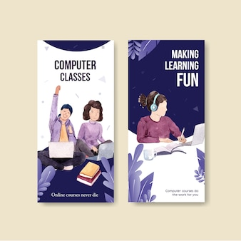 Vertical banner with online education desig