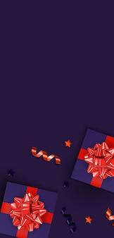 Вертикальный баннер с фиолетовой подарочной коробкой и глянцевой лентой.