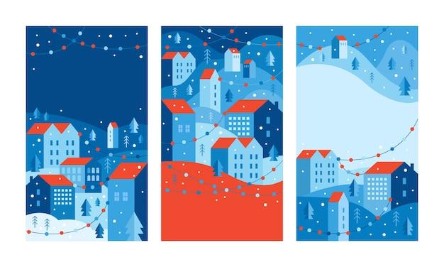 ソーシャルメディアストーリーの垂直バナーと壁紙。幾何学的な最小限のフラットスタイルの都市景観。休日の花輪のある新年とクリスマスの冬の街。テキスト用のコピースペースのあるテンプレート