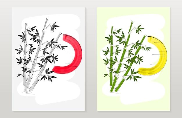 수직 배너 대나무, 전통적인 일본 수미 스타일의 태양. 벡터 일러스트 레이 션.