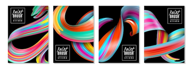 Vertical banners colorful brush strokes of oil or acrylic paints on black  isolated
