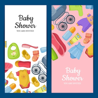 Vertical banners or flyers with baby accessories and clothing