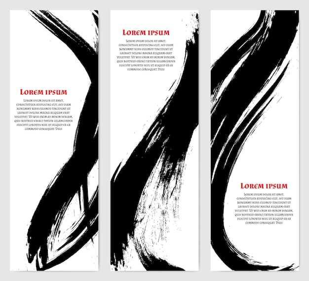 Vertical banners set in modern asian style. black rough brush strokes. template for text.