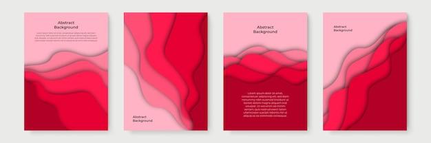 3d抽象的な背景と紙のカット形状で設定された垂直バナー。ビジネスプレゼンテーション、チラシ、ポスター、招待状のベクターデザインレイアウト