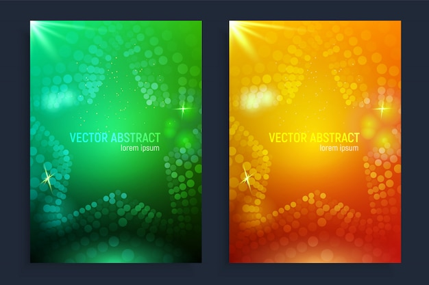 Vertical banners set with 3d abstract ufo green