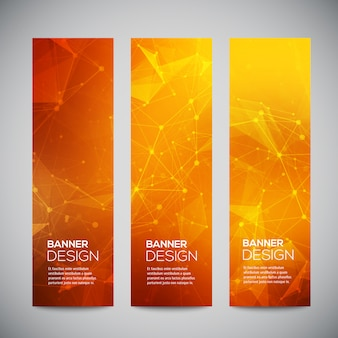 Vertical banners set with polygonal abstract shapes, with circles, lines, triangles. polygonal banners
