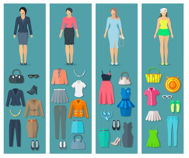 Vertical banners set of woman clothes elements in business cocktail beach and casual fashion styles vector illustration