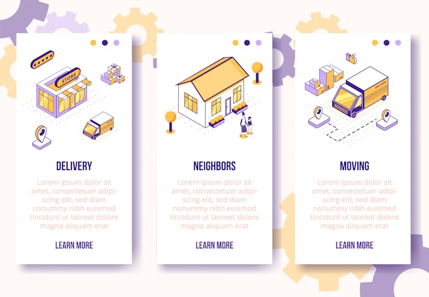 Vertical banners template. isometric social business scenes-house, people characters, truck, boxes on banner page web online concept